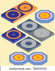 Set of isometric mat and area for freestyle wrestling, greco-roman wrestling and judo in vector