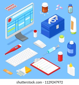 Set of isometric medical equipment and computer. Vector illustration