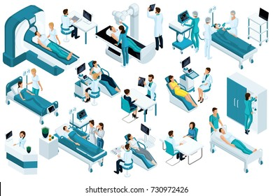 Set Isometric, medical workers and patients, hospital bed, MRI, X-ray scanner, ultrasound scanner, dental chair, operating room.