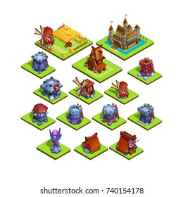 Set of isometric medieval building for game isolated on white background. Vector illustration.