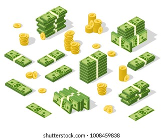 Set of isometric money isolated on white background. Golden coins and paper dollars illustration. A lot of cash money.