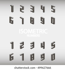 Set of isometric numbers gray. Vector illustration eps10.