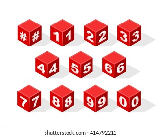Set of Isometric Numbers on White Background. Vector Illustration.