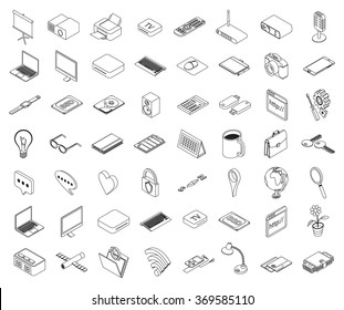 set of isometric outline of icons on a theme of computer technology and office equipment - vector eps 10