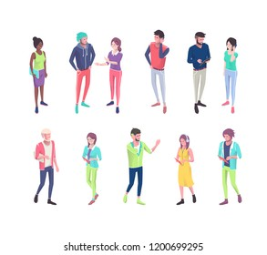 Set of isometric people with different gadgets.  Vector illustration.