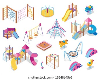 Set of isometric playground icons with images of colourful play equipment with shadows on blank background vector illustration