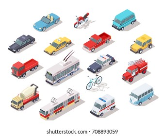 Set of isometric public and personal transport vehicles isolated icons. Colorful trucks, ambulance emergency and fire engine, police car, bicycle and buses vector