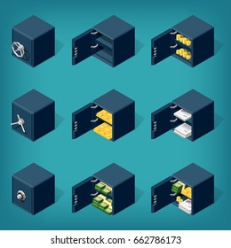 Set of isometric safe boxes, filled with money, gold, coins, documents. Eps10 Vector.