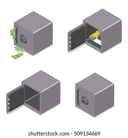 Set of isometric safe boxes isolated on white background. Opened, closed, full and empty. Vector illustration
