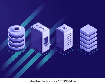 Set of isometric server rack, data center, web site hosting, computing and processing information concept vector illustration on ultra violet background