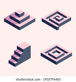 Set of isometric simple shapes: pyramid, spiral, ladder and square