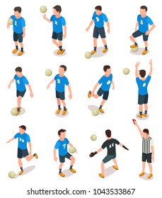 Set of isometric soccer players and referee icons isolated on white. Football team in action, goalkeeper catches the ball. Vector illustration