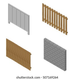 A set of isometric spans fences of various materials. Wood, concrete and cinder blocks. Isolated on white background. Elements of buildings and landscape design, vector illustration.