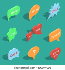 Set of isometric speech bubbles with expression of various emotions or with any other text. Vector element of graphic design