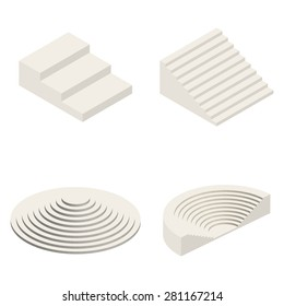 Set of Isometric Stairs Elements Vector illustration