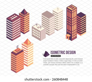 Set of isometric tall buildings for city building. Vector illustration.
