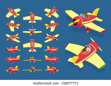 Set of the isometric toy planes. The objects are isolated against the dark-blue background and shown from different sides