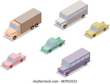 Set of isometric transport: car, lorry and bus. Vector illustration
