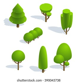 Set isometric trees forest 3d  white background.Vector illustration isolated.Vector isometric icons  for isometric  maps,  games and your design.