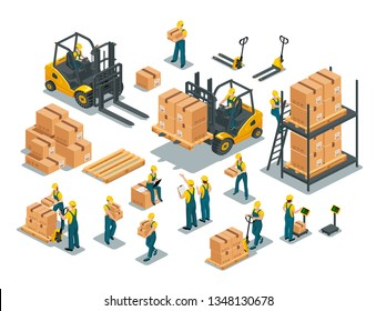 Set of isometric vector elements of warehouse design. Forklift, pallet, boxes, floor scales, manual pallet jack, men and women workers wearing working overalls and work safety helmet.