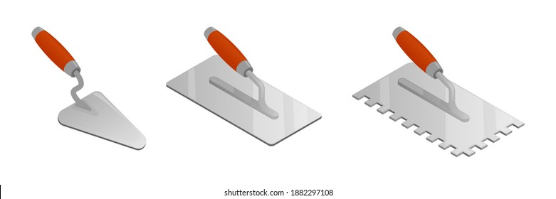 Set of isometric vector illustrations bricklayer and stucco trowels isolated on white background. Cement trowel, plastering trowel colorful vector icons in flat cartoon style. Construction tool.