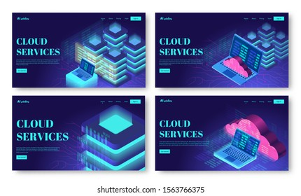 Set of isometric vector illustrations of cloud storage, computing or server technology. Collection of web page header templates. Data services.