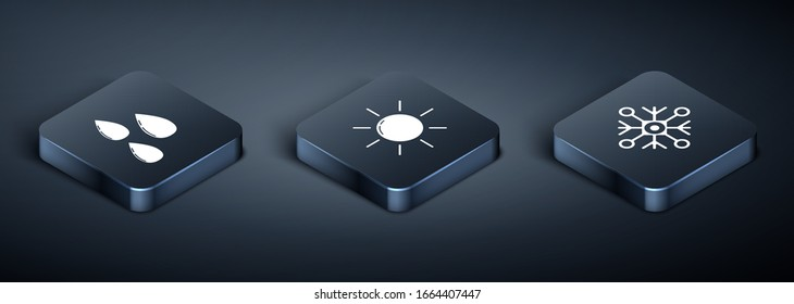 Set Isometric Water drop, Snowflake and Sun icon. Vector
