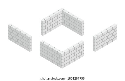 Set of isometric white brick wall corners with cement mortar isolated on white background. New grey brick wall vector icon. Autoclaved aerated concrete block fence. 3D vector cartoon flat illustration