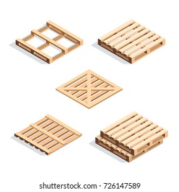 Set of isometric wooden pallets. Stack of pallet isolated on white background. 3d pallets. Vector illustration.