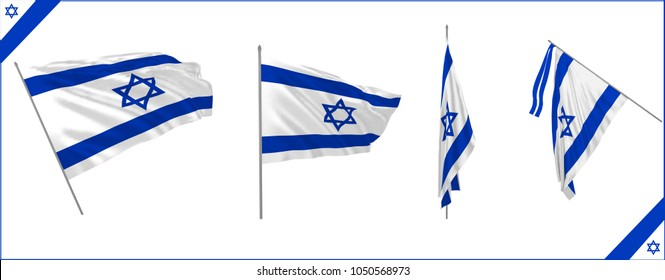 Set of Israel state waving flag in solemn or proud style. Vector illustration.