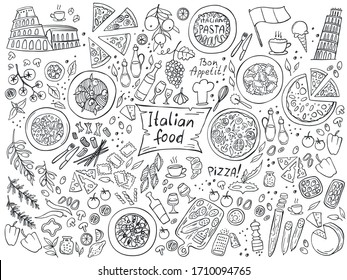 Set of Italian cuisine food isolated on white background. Doodle. Vector illustration. Perfect for food menu design template.