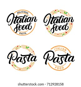 Set of Italian food and Pasta hand written lettering logo, label, badge, emblem. Modern calligraphy. Spaghetti pasta circle. Vintage retro style. Isolated on white background. Vector illustration.
