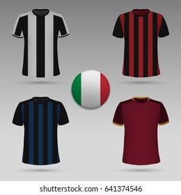 set of Italian football kit, t-shirt template. soccer jersey. Vector illustration