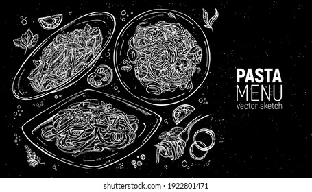 Set of Italian pastes. Carbonara, with chicken and tomatoes, seafood, bolognese on a fork. Hand drawing.