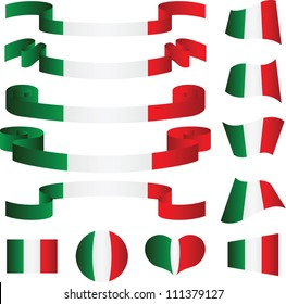 Set of Italian ribbons, vector illustration
