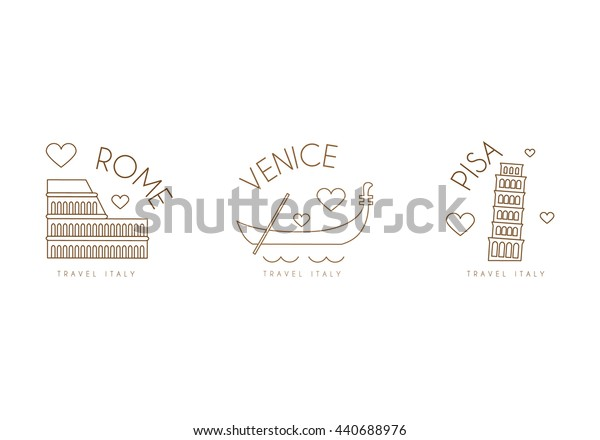 Set of italian travel logos. Modern logotypes in linear style obout cities of Italy. For travel agencies and promotion.