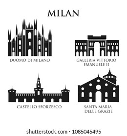 Set of Italy architecture symbols, landmarks. Pictogram in black and white. Icon of Milan. Vector illustration. Set for you design