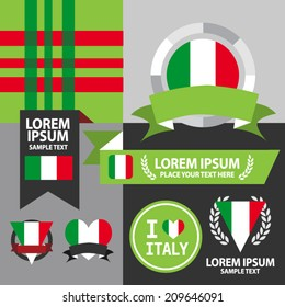 Set of Italy flag, emblem and pattern background.