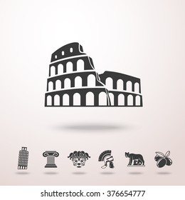 Set of Italy freehand icons -  olives, Pisa Tower, Colosseum, Column, venecian mask, Legionnaire's Helm, Lupa Capitolina. Vector