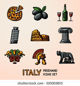 Set of Italy freehand icons - pizza, olives, wine, Pisa Tower, Colosseum, Column, venecian mask, Legionnaire's Helm, Lupa Capitolina. Vector