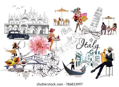 Set of Italy illustrations with fashion girls, cafes and musicians. Vector illustration.