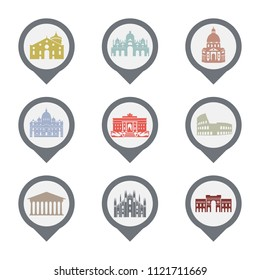 Set of Italy symbols, landmarks in black and white. Vector illustration. Venice, Milan,Italy, Rome. Set for you design