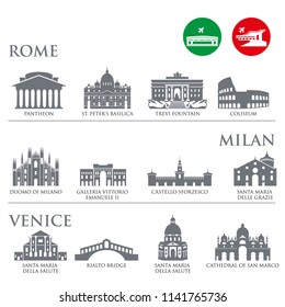 Set of Italy symbols, landmarks in gray color. Vector illustration. Venice, Milan,Italy, Rome. Set for you design