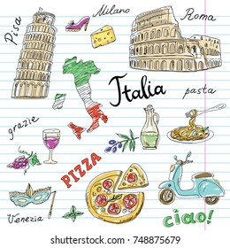 Set of Italy symbols on notebook sheet. Hand drawn set with Coliseum, Leaning Tower of Pisa, pizza, Map of Italy. Vector illustration; words: Hello,Venice, Pisa, Milan, Italy, pasta, pizza, Thank you, Rome .