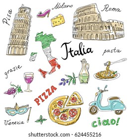 Set of Italy symbols,landmarks,travel icons.Hand drawn set with Coliseum,Leaning Tower of Pisa,pizza,Map of Italy.Vector illustration;words:Hello,Venice, Pisa,Milan,Italy,pasta,pizza,Thank you,Rome .