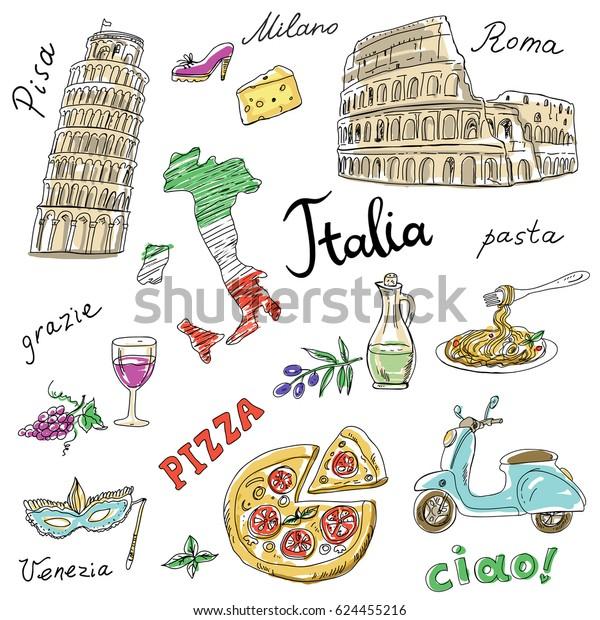 Stockvektor 624455216 Med Uppsattning Italien Symboler Landmarken