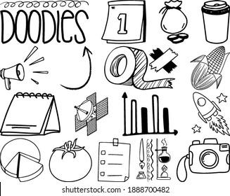 Set of item and symbol hand drawn doodle illustration