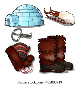 The set of items of culture and life of the people of the far North and of the Inuit, isolated on white background. Jaw harp, igloo, sleigh, boots, hat. Vector illustration.
