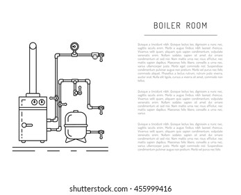 The set of items of equipment for boiler rooms and heating in the cold season. Heating boiler, Bolek, water heater, heat accumulators, battery painted in the style outline, linear