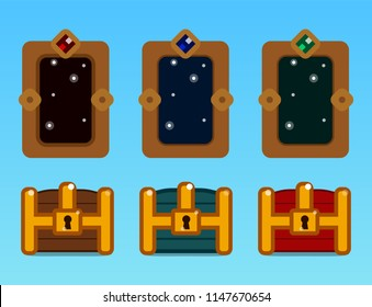 Set of items for gaming interface. Wooden chest, red chest, blue chest, three magic doors